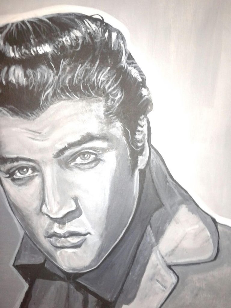 Artist: B Bryant $500 Portrait of Elvis. 18x24 Acrylic on canvas.(c) Copyright June 2016. To purchase go to buy now 2