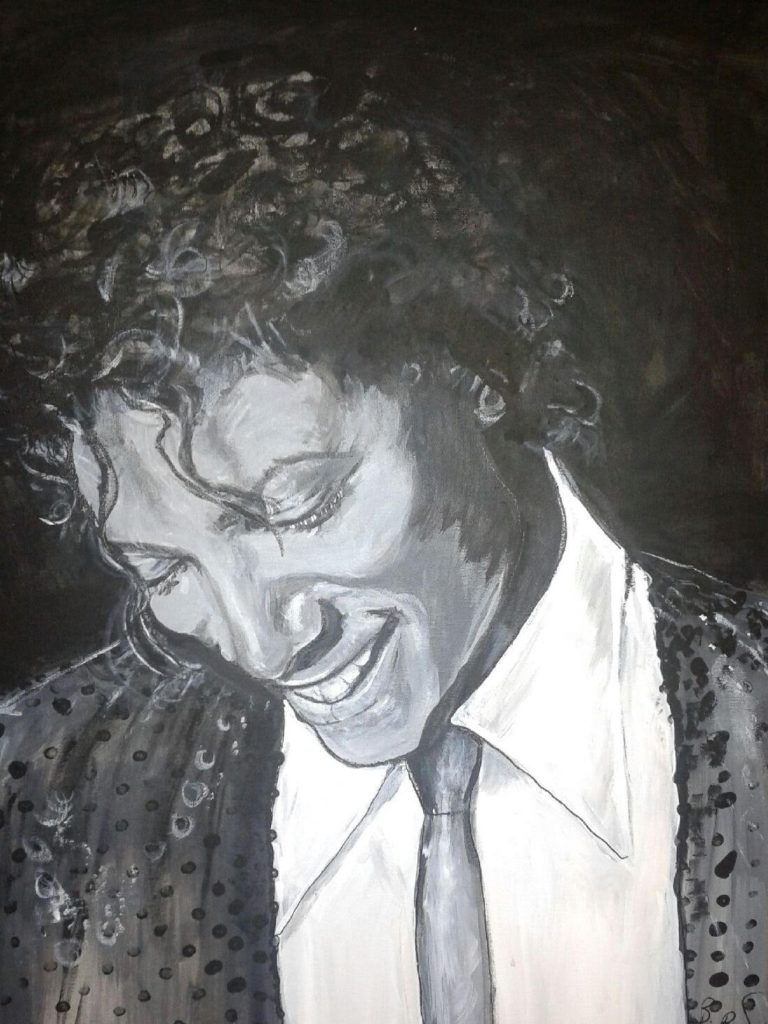 Artist: B Bryant $500 Portrait of Michael Jackson, 18x24 acrylic on canvas. (c) Copyright May 2015. to purchase go to buy now 2
