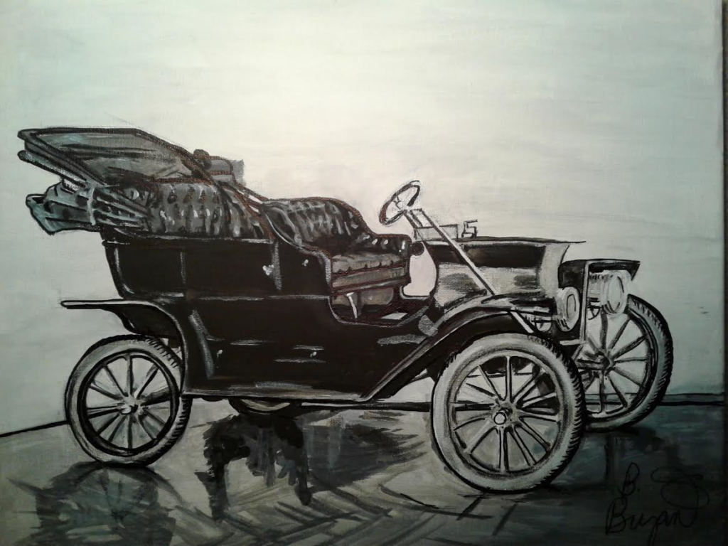 Artist B. Bryant $250 Ford Model T 16x20 acrylic on canvas Catolog # 514. Copyright (c) B. Bryant 2014