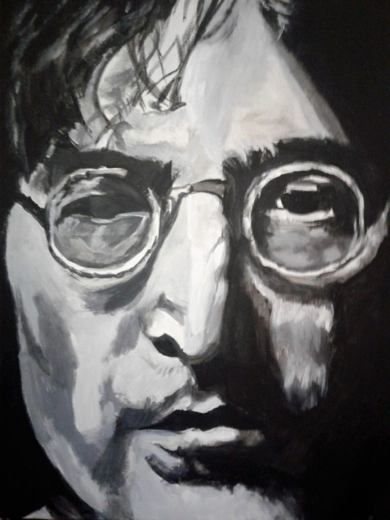 Artist: B Bryant $500 Portrait of John Lennon, 18X24 Acrylic on canvas,  Copyright(c) July 2017 to purchase go to buy now 2