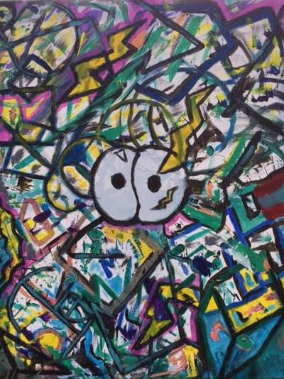 Justin Holt $560 Honeybun & Handprint 24x30 acrylic on Canvas Copyright(c) 2017 Justin Holt #529 purchase on Buy Now 2