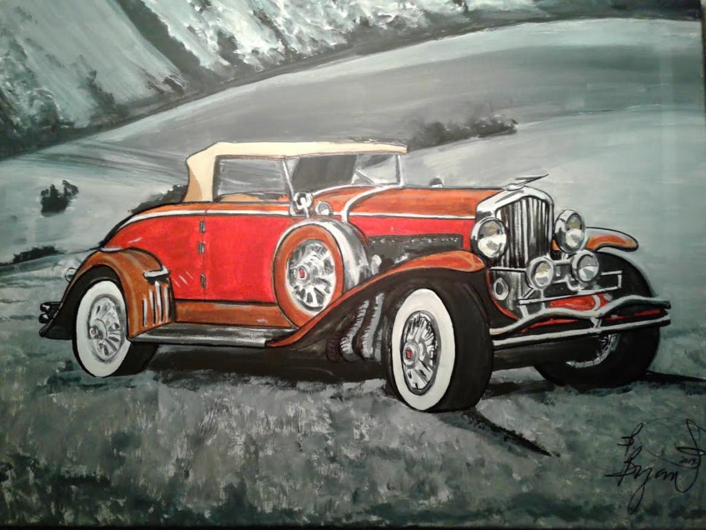 Artist B. Bryant $250 The Duesenberg Model J 1932 18x24 acrylic on canvas Catalog # 512. Copyright (c) B Bryant 2014