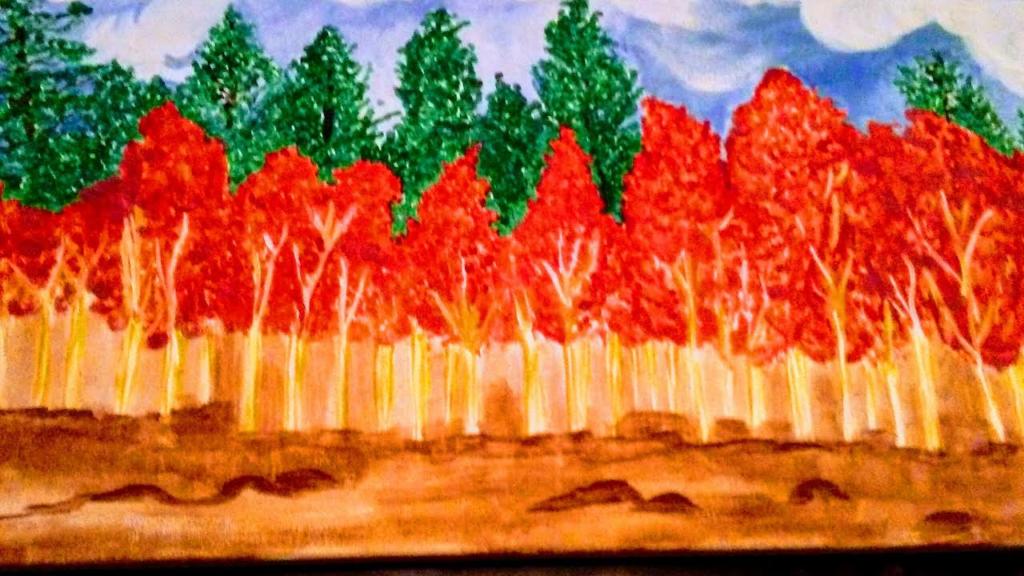 Barbara Faddis Red Autume Catalog #509 $250 12x24 acrylic canvas panel. Copyright (c) Barbara Faddis 2016