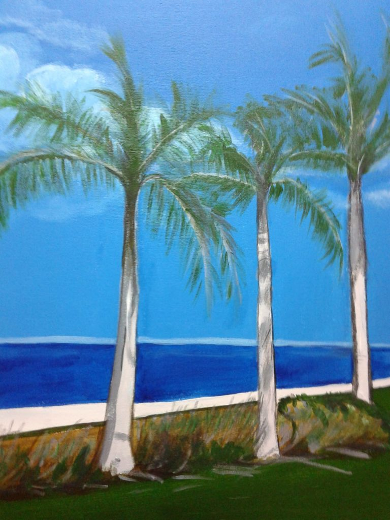 Artist: B. Bryant Day at the Beach $75, 18X24 Acrylic on Canvas. Copyright (c) July 2017.  To purchase go to buy now 2