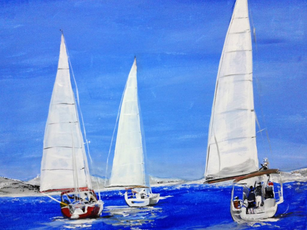 Artist: B. Bryant Day of Sailing $75, Acrylic on Canvas, Copyright(c) July 2017. to purchase go to buy now 2